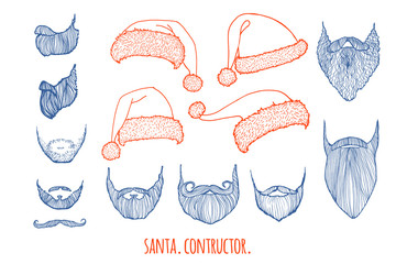 Stylish Santa. Constructor. Hats and beards. Set of vector hand-drawn illustrations.