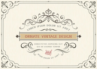 Horizontal vintage ornate greeting card with typographic design, calligraphy swirls and swashes.