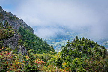 Foggy view of the Blue Ridge Mountains from Grandfather Mountain