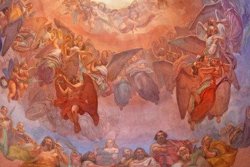 Wall Mural - CREMONA, ITALY - MAY 24, 2016: The choirs of angels fresco as the detail of cupola in church Chiesa di Santa Agata by Giovanni Bergamaschi from end of 19. cent.