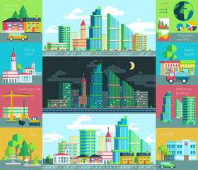 Vector illustration of city life, urban landscape with the environment