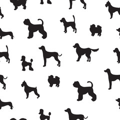Unusual seamless pattern with dog silhouettes.  Set of  differen