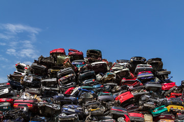 Stacked cars on a junkyard