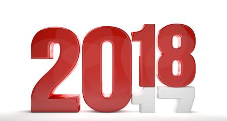 2018 2017 red white 3d render