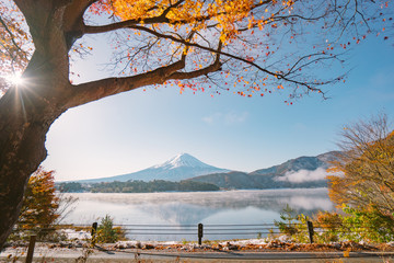 Autumn Season and Mountain Fuji with evening light and red leaves at lake Kawaguchiko, Japan.