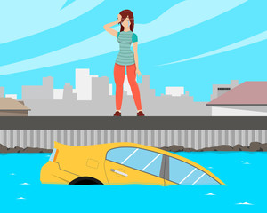 Girl badly parked the car and she fell into the water. Vector illustration