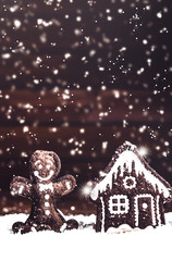 brown christmas decorative handmade toys in snow