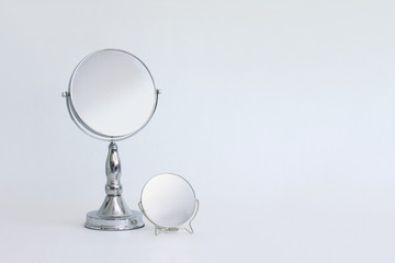 Set of portable vanity cosmetic mirror and magnification glass