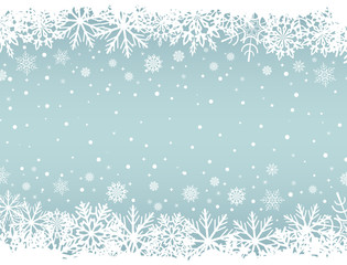 Abstract Christmas background with white snowflake borders and c