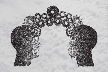 Concept of Brain storming, Knowledge sharing between to people head, this was shown through cogwheels transferring from one human brain to other. Particle divergent composition.