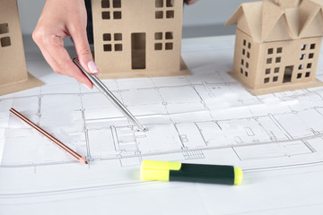 House plan blueprint and model concept for new design or home improvement