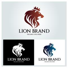 Lion brand logo design template ,Lion head logo design concept ,Vector illustration
