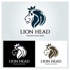 Lion head logo design template ,Vector illustration