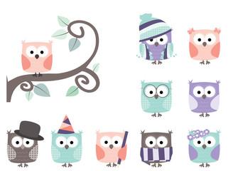 set of cute little cartoon owls / tree branch/ white background