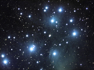 Pleiades also called Messier 45 or M45. Taken by my telescope and cared by me in post production for details and quality.