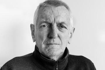 Portrait of older man (black and white)