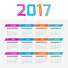 Calendar 2017 year. Week starts from Monday