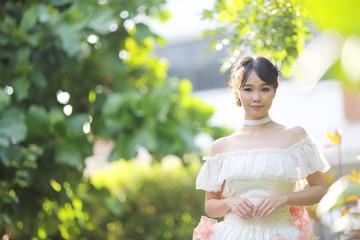 Asian Bride in white dress