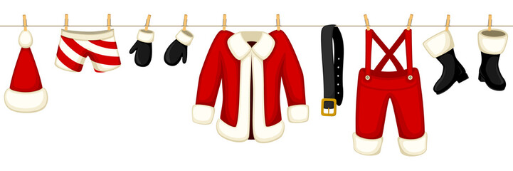 Vector illustration of all of Santa's clothes hanging on a clothesline. Illustration can be joined seamlessly end to end to make a longer line.