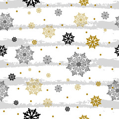 Seamless pattern with gold and black snowflakes on gray splashes. Vector illustration.