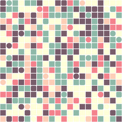 Geometric mosaic of squares on a white background.