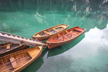 Stunning view of Lago di Braies. Dolomites, Italy. Wall mural