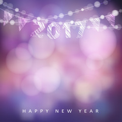 Happy new year greeting card with 2017. Glittering lights and party flags. Modern blurred vector illustration background