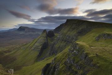 A view southwards along the Trotternish Peninsula from the mountain Bioda Buidhe, Isle of Skye, Inner Hebrides, Scotland, United Kingdom, Europe