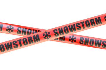 Snowstorm Caution Barrier Tapes, 3D rendering