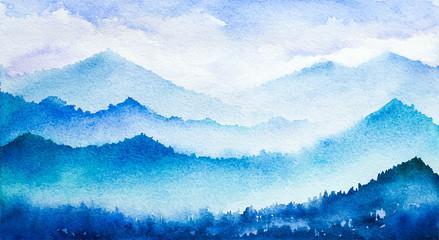 Mountain landscape. Watercolor illustration.