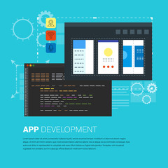 Vector illustration of app development and coding process