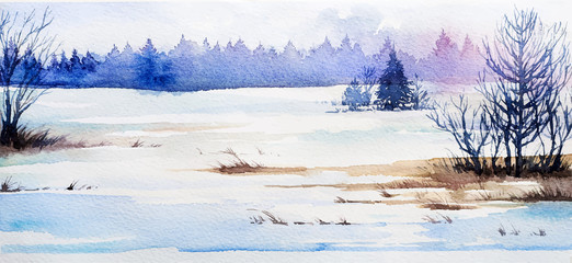 Winter Landscape. Watercolor illustration.