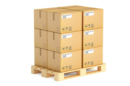 Wooden pallet with parcels. Shipping and logistics concept, 3D r