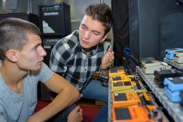 sound mixers having a conversation