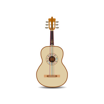 Vector illustration of acoustic mexican guitar isolated on white background.