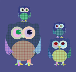 Cartoon character family owl