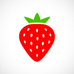 Ripe strawberry vector icon