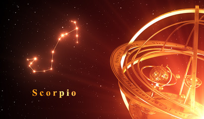 Zodiac Constellation Scorpio And Armillary Sphere Over Red Background