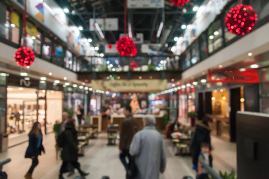 Abstract blur image of shopping mall and people on christmas time for background