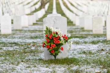 Headstones in Arlington National Cemetery in Winter - Near to Washington D.C.
