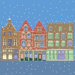 Vector. Urban Winter Christmas landscape.