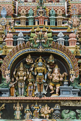 Detail of Hindu carvings, Sri Meenakshi Sundareshwara Temple, Madurai, Tamil Nadu, India, Asia