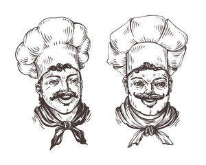 Drawn chef cooks on white background in style of engravings. Vector illustration