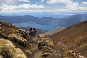 Tongariro Alpine Crossing with view of Lake Taupo, Tongariro National Park, UNESCO World Heritage Site, North Island, New Zealand, Pacific