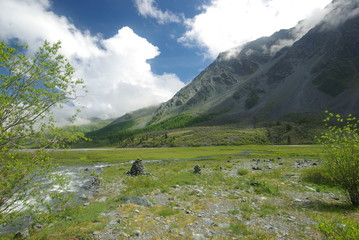 Mountain landscape. Highlands, the mountain peaks, gorges and valleys. The stones on the slopes