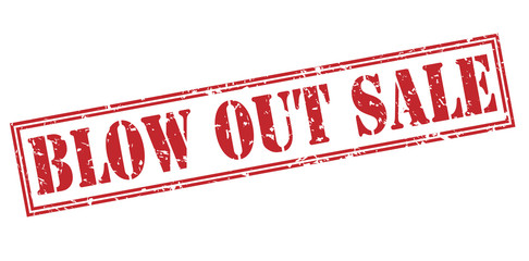 blow out sale red stamp on white background