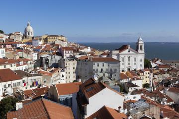 View over Alfama district from Miradouro das Portas do Sol, Alfama, Lisbon, Portugal, Europe