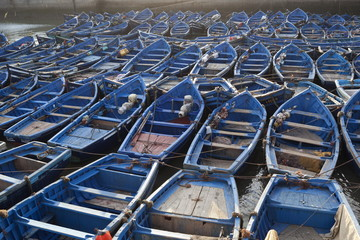 Traditional blue fishing boats in the harbour, Essaouira, Atlantic coast, Morocco, North Africa, Africa