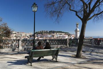 View over city from Miradouro de Sao Pedro de Alcantara, Bairro Alto, Lisbon, Portugal, Europe