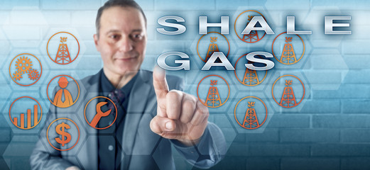 Cheerful Industrial Manager Pushing SHALE GAS